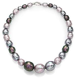 "Majorica Women's 10MM-20MM Multicolor Baroque Pearl & Sterling Silver Graduated Strand Necklace/18"""