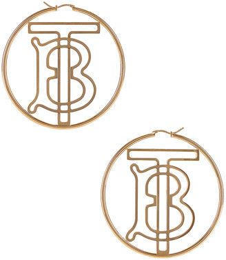 Burberry TB Hoop Earrings in Light Gold | FWRD
