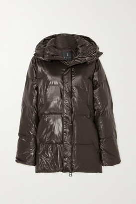 Rains Hooded Quilted Padded Glossed-shell Coat - Brown