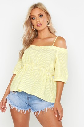 boohoo Plus Gingham flannel Cold Shoulder Top