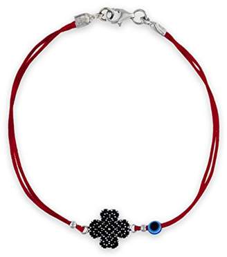 Tuscany Silver Women's Sterling Silver Black Cubic Zirconia 13 x 11.5 mm Clover and Bead Red Cord Bracelet of Length 18 cm/7 Inch