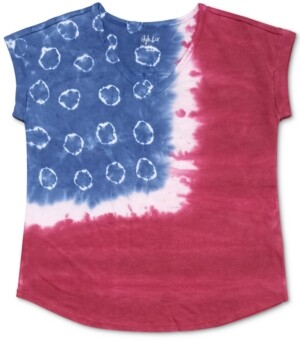 Style&Co. Style & Co Tye-Dyed American Flag T-Shirt, Created for Macy's