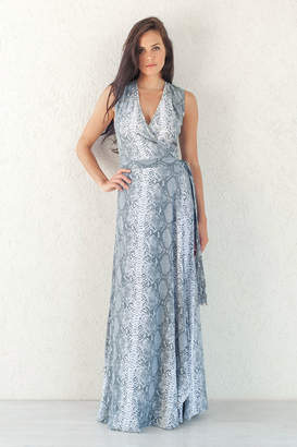 Beth & Tracie Barbados - Steel Grey Rayon Snake Skin Wrap Maxi Dress - SMALL - Grey/Silver