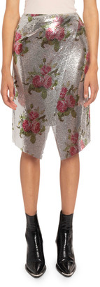 Paco Rabanne Floral-Print Chainlink Aluminum Wrap Skirt
