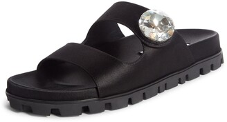 Miu Miu Crystal Button Slide Sandal