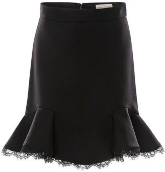 Alexander McQueen Lace-Hem Mini Skirt