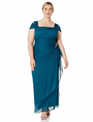 Alex Evenings Women's Plus Size Long Cold Shoulder Dress