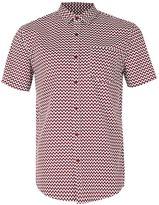 Topman Burgundy and White Zig Zag Short Sleeve Casual Shirt