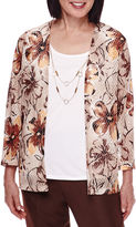 Alfred Dunner 3/4-Sleeve Leaf-Print Layered Top with Necklace