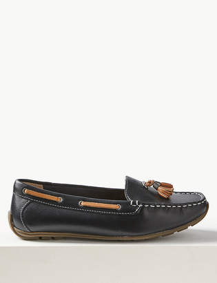 M&S CollectionMarks and Spencer Wide Fit Leather Boat Shoes