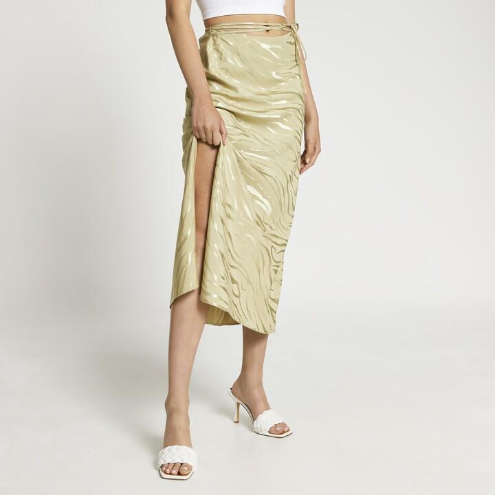 Thumbnail for your product : River Island Womens Khaki bias tie waist maxi skirt