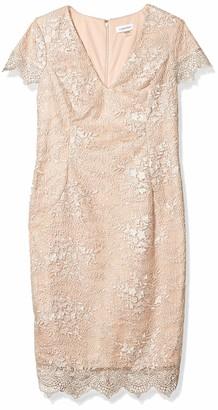 Calvin Klein Women's V-Neck Cocktail Dress with Scalloped Hem