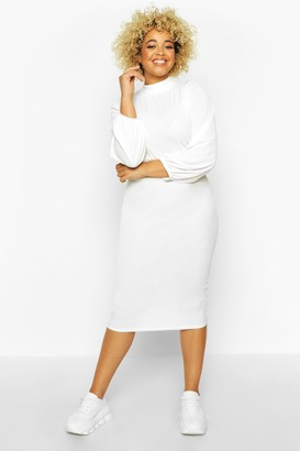 boohoo Plus Rib High Neck Blouson Sleeve Midi Dress