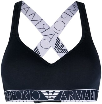 Emporio Armani Logo-Strap Stretch-Cotton Bra