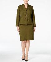Le Suit Plus Size Melange Three-Button Skirt Suit