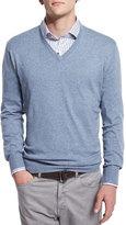 Peter Millar Cashmere-Blend V-Neck Sweater, Dark Gray