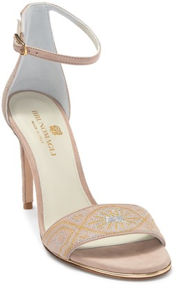 Bruno Magli Fedora Embroidered Suede Stiletto Heel Sandal