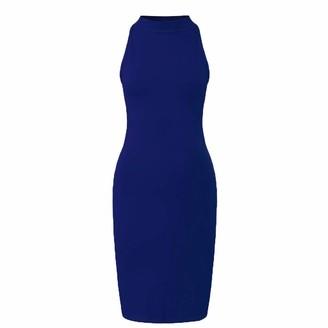 Fhuuly Summer Women's Sexy Tight Black Skirt Slim Strapless Backless Knee Dress Turtleneck Skinny Dress Off Shoulder Midi Dress (Dark Blue L)
