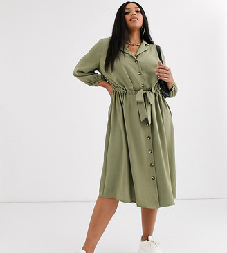 ASOS DESIGN Curve button through midi shirt dress with ruched waist in light khaki