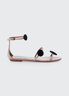 Alaia Suede Dot 3-Strap Flat Sandals