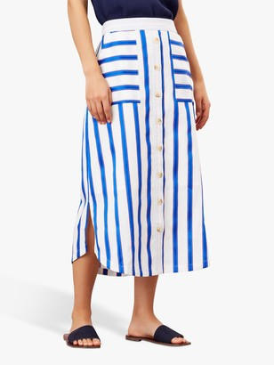 Joules Orielle Striped Button Front Skirt, White/Blue