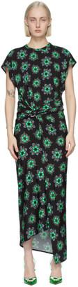Paco Rabanne Black Geometric Floral Midi Dress