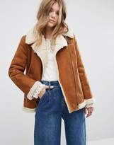 Moon River Lace-Up Sleeves Faux Suede Jacket