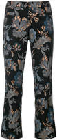Cambio floral and sequin embroidered cropped trousers