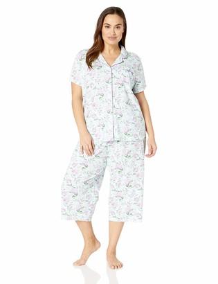Karen Neuburger Women's Plus Size Short-Sleeve Girlfriend Crop Pajama Set PJ