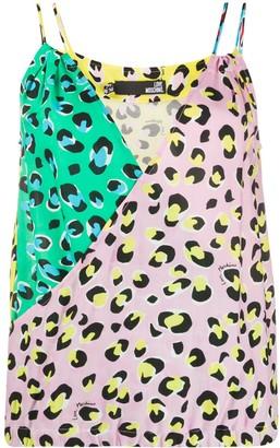 Love Moschino Colour Block Leopard Print Vest