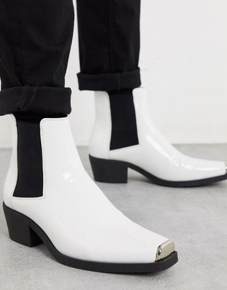 Asos DESIGN stacked heel western chelsea boots in white patent with metal hardware