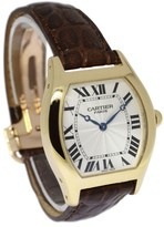 Cartier Tortue 2496C W1531951 18K Yellow Gold / Leather 34.5mm Mens Watch