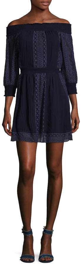 Alice + Olivia Women's Pammy Embroidered Off the Shoulder Dress