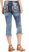 Miss Me Destructed Embroidered Pocket Woven Stretch Denim Capris