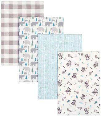 Trend Lab Bear Print Flannel Receiving Blanket 4-Pack Bedding