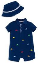 Little Me Infant Boys' Fun Cars Pique Romper & Hat Set - Sizes 3-12 Months