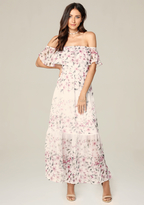 Bebe Print Ruffle Maxi Dress