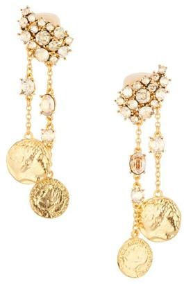 Oscar de la Renta Crystal & Coin Clip-On Chain Drop Earrings