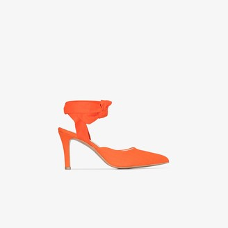 WESTERNAFFAIR Orange 85 Ankle Tie Pumps