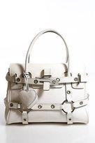 Luella White Leather Silver Hardware Double Handle Giselle Satchel Handbag