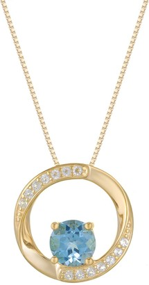 18k Gold Plated Sterling Silver Blue Topaz & White Topaz Circular Pendant Necklace