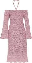 W118 by Walter Baker Serena Off-The-Shoulder Grosgrain-Trimmed Lace Halterneck Dress