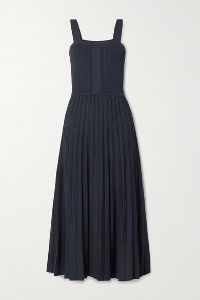 Thumbnail for your product : Jason Wu Collection Pleated Knitted Midi Dress - Midnight blue