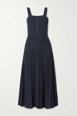 Jason Wu Collection Pleated Knitted Midi Dress - Midnight blue