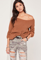 Missguided Off Shoulder Knit Sweater Tan