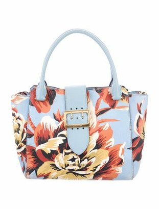 Burberry Floral Printed Buckle Bag Blue