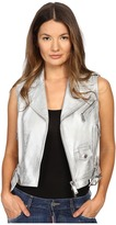 DSQUARED2 Lamb Leather Silver Leather Gilet Top Women's Clothing