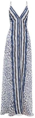 Marios Schwab El Palmar Leopard-print Silk-chiffon Maxi Dress - Navy Print