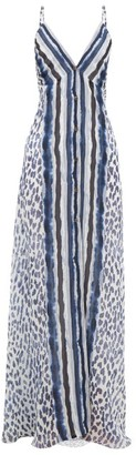 Marios Schwab On The Island By El Palmar Leopard-print Silk-chiffon Maxi Dress - Womens - Navy Print