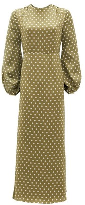 Racil Fez Polka-dot Open-back Satin Dress - Womens - Green